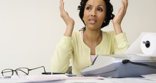 Woman worrying about finances