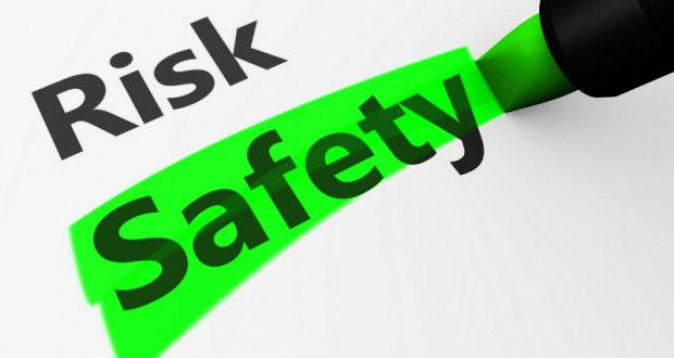 Safety and security concept with a 3d rendering of risk text and safety word highlighted with a green marker.