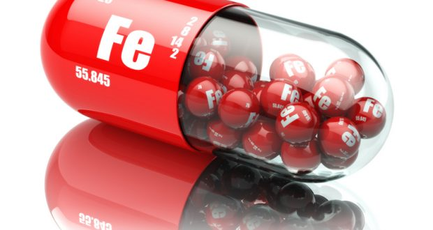 Pills with iron FE element Dietary supplements. Vitamin capsules